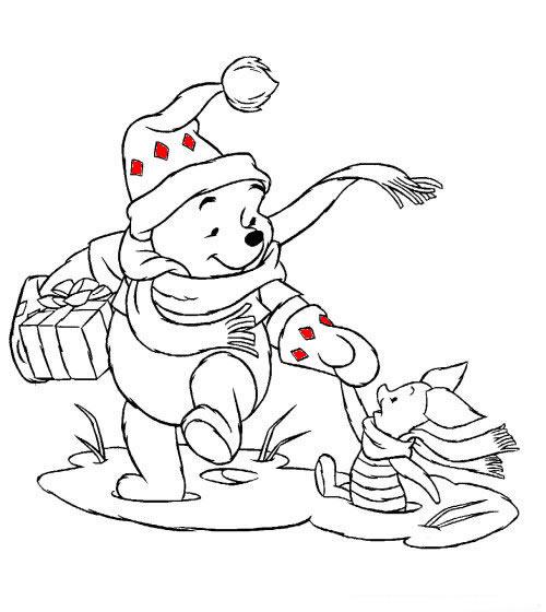 Disegni Di Natale Da Colorare Pooh Natalizio Con Pimpi Da Colorare
